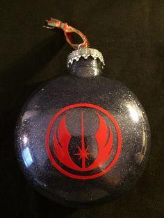Star Wars-Jedi Logo Christmas Ornament by DJsDecals on Etsy Star Wars Jedi, Black Glitter, Favorite Person, Vinyl Decals, Christmas Bulbs, Stars, Holiday Decor, Etsy, Fir Tree