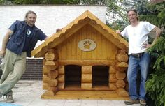 awesome log house for 2 dogs