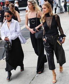 Margaret Zhang in Dion Lee top, C/MEO Collective skirt, Isa Wan bag, Tony Bianco shoes and Greyhound Original sunglasses, Vogue.com's Kelly Connor in Stella McCartney, and Pernille Teisbaek in Altuzarra top and Olympia Le-Tan bag