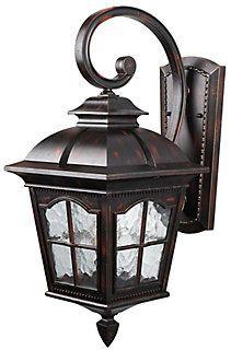 Canarm Ltd Madison 1 Light Rustic Bronze Wall Lantern Watermark Glass The Home Depot Canada Wall Lantern Home Depot Glass