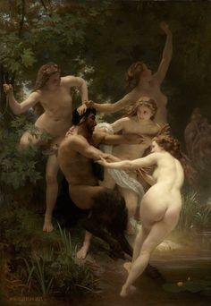 William Adolphe Bouguereau (William Bouguereau) (1825-1905) Nymphes et Satyre Oil on canvas