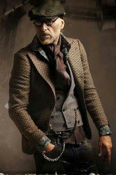 Men's Dark Brown Herringbone Blazer, Grey Waistcoat, Dark Green Floral Long… #steampunkfashion,
