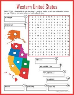 US Geography for kids - Western United States puzzle worksheet. Geography Worksheets, Geography Activities, Geography For Kids, Teaching Geography, World Geography, Worksheets For Kids, Activities For Kids, Printable Worksheets, Teaching Vocabulary
