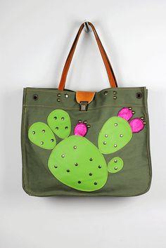 Large neroli canvas tote bag with cactus siluetes Nerolihandbags.etsy.com