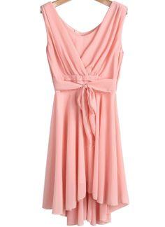 Pink Sleeveless Backless Belt Pleated Dress US$18.63