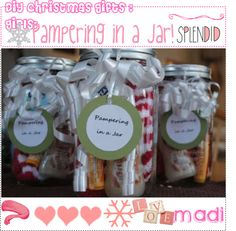 """""""DIY : Christmas gifts : Girl's! : Pampering in a jar!"""" by the-finger-tips ❤ liked on Polyvore"""