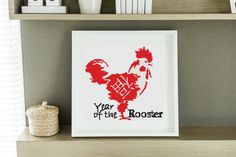Mini Cross Stitch KIT |  Printed CHART |  Year of the Rooster by TheArtofCrossStitch on Etsy