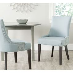 Blue Fabric Dining Chairs godfrey studded fabric dining chair (set of 2)christopher