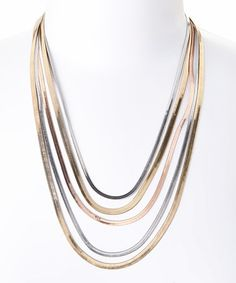 This Tri-Tone Multistrand Necklace is perfect! #zulilyfinds