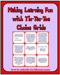 """One of my mentors from my early teaching days said that we should strive to give students """"freedom within structure."""" Tic-Tac-Toe Choice grids are one excellent way to do that. To make a Tic-Tac-Toe Choice Grid, simply put nine more or less equal projects, assignments, or activities into a 3X3 Grid. Students must then choose three of the projects to complete. However, just like in"""