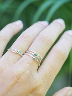 Dainty Emerald Ring // She brings the courage it takes to love and be loved.
