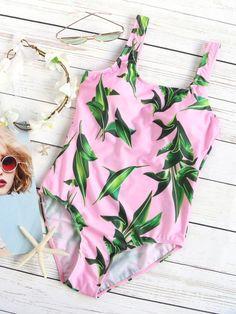 Pink Leaf Print One-Piece Swimwear