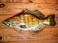 """Small Mouth Bass 24"""" chainsaw wood carving sport fishing lake lodge fish wall mount home decor sculpture indoor/ourdoor hand painted art on Etsy, $75.00"""
