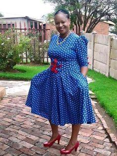 Lesotho Seshoeshoe Designs 2018 : Beautiful Shweshwe Dress DesignsLatest Ankara Styles and Aso Ebi Styles 2020 Sotho Traditional Dresses, African Traditional Dresses, Trendy Ankara Styles, Ankara Gown Styles, Ankara Gowns, African Attire, African Dress, African Wear, African Outfits