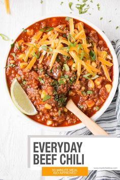 Everyday Beef Chili recipe is a kid-approved, meal that comes together using mostly pantry staples. This mild chili recipe has limited ingredients and is the best chili recipe for busy family weeknight meals. Chili Recipes, Crockpot Recipes, Cooking Recipes, Soup Recipes, Hamburger Recipes, Lamb Recipes, Savoury Recipes, Spicy Recipes, Kochen