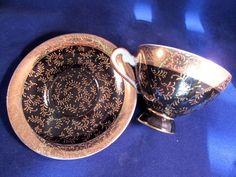 Vintage ROYAL VIENNA Gold & Black Demitasse Tea Cup & Saucer Set  #RoyalVienna