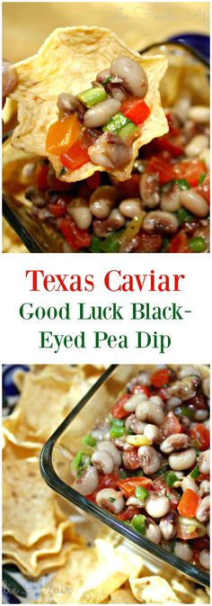 Texas Caviar, black-eyed peas served on New Year's Day to bring prosperity in the new year is a Southern United States tradition! #Dip #Beans #TexasCaviar