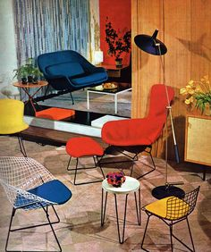 Bertoia Diamond, Side and Bird Chair in colors that pop!