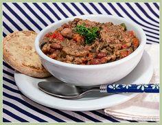 Vegan 16 Bean, Leek, and Kielbasa Soup Veggie Recipes, My Recipes, Recipies, Kielbasa Soup, Eat To Live, Light Recipes, Lunches, Food Food, Plant Based
