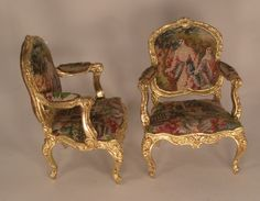Louis XV Pair of Arm Chairs In The Garden by Robert Dawson - $1,595.00 : Swan House Miniatures, Artisan Miniatures for Dollhouses and Roomboxes