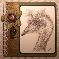 Pencil drawing of emu on a Shabby Chic Mother's Day Greeting Card. Sea grass flower, heart bird cage charm, Scripture Isaiah 55:12. OOAK.