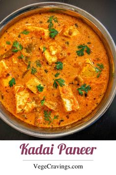 Popular Indian Curry made of Paneer cubes cooked in spicy Onion Tomato Masala an...