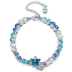 LadyColour Valentines Day Gifts 'Star' Blue Link Bracelet Made with Swarovski Crystals, 7' Plus 1.5', Birthday Gifts Anniversary Gifts Graduation Gifts for Girls Women ** You can find more details by visiting the image link.