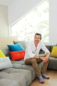 Relax in style a la Trevor Linden; get cozy on a custom sofa. Carmel furniture designs. #modern #chaletchic #homedecor