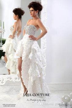 Wholesale Bridal Sashes - Buy 2014 New Arrival Sexy Layered High-Low Skirt Beaded Diamond Crystals Bling Bling Short Wedding Dress with Flower Decoration JAJAA-008, $282.73 | DHgate