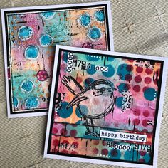 Dina Wakley Scribbly Bird Birthday card Butterfly Cards, Flower Cards, Honey Bee Stamps, Miss You Cards, Ranger Ink, Simon Says Stamp, Hero Arts, Art Blog, Altered Art