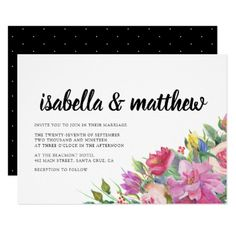 Chic Elegant Typography Floral Wedding Invitation - invitations personalize custom special event invitation idea style party card cards
