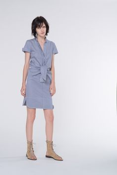 Look 22 - Vanessa Bruno Spring Summer 2014 blue striped shirt dress #minimalist #fashion #style