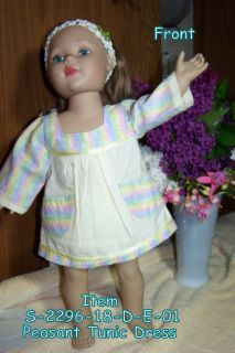 Pastel Peasant Tunic Dress or top with Square neckline and pockets made to fit your 18 inch dolls such as: American Girl, Madame Alexander, Favorite Friends, journey girls, Springfield Doll, Carpatina doll, Harmony Club, My Generation, and other like them.  The Skirt and Hems of the Sleeves are Pale Yellow, while the top bodice, sleeves, as well as the pockets and skirt hem trim are multi-striped with pastels. These stripes are green, yellow, pink, and lavender. The top and hem trim are…