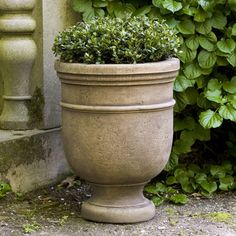 "Campania International, Inc St. Remy Round Urn Planter Finish: Terra Nera, Size: 22"" H x 18.5"" W x 18.5"" D"