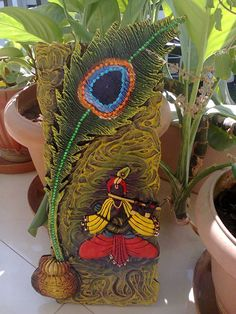 MURAL- made Lord Krishna Mural from clay and acrylic colours Clay Wall Art, Mural Wall Art, Mural Painting, Texture Painting, Diy Painting, Clay Art Projects, Clay Crafts, Arts And Crafts, Indian Room Decor