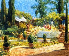 In a Garden, San Diego by Colin Campbell Cooper - Hand painted oil painting reproduction