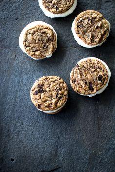 Dark Chocolate Chunk Cookie Ice Cream Sandwiches | flouringfoodie.com @heatheralanna
