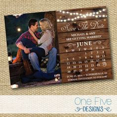 String Lights Rustic Wedding Save The Date by OneFiveDesigns