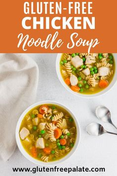 An easy recipe for gluten free chicken noodle soup that uses everyday ingredients. This gluten free chicken noodle soup recipe  is ready in under 30 minutes, uses fresh and simple ingredients, and I've included instructions for a grain-free paleo version. Angel Food Cake Desserts, Easy No Bake Desserts, Birthday Desserts, Gluten Free Desserts, Gluten Free Sides Dishes, Gluten Free Dinner, Gluten Free Breakfasts, Gluten Free Chicken Noodle Soup Recipe, Kitchen Recipes