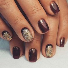 Simple Nail Art Design with Gold Glitter Accent Nails