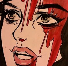 aesthetic, blood, and grunge image Art Sketches, Art Drawings, Arte Grunge, Tableau Pop Art, Arte Horror, Gothic Horror, Arte Pop, Red Aesthetic, Aesthetic Space