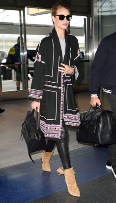 How to Copy Rosie Huntington-Whiteley's Bohemian Airport Outfit via @WhoWhatWearUK
