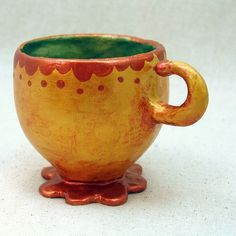 Papier Mache Sculpture | Teacup: Papier Mache Sculpture, Spiro Drip | Tea with biscuits