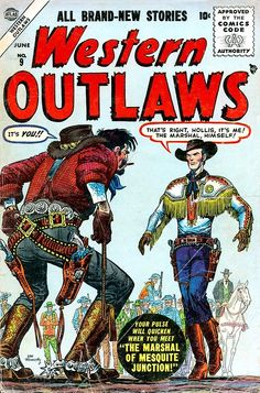 (via Pencil Ink comic book artists blog 1950s 1960s 1970s 1980s: Western Outlaws v2 #9 - Joe Kubert art)  Joe Maneely (cover)  he is quite dandy…