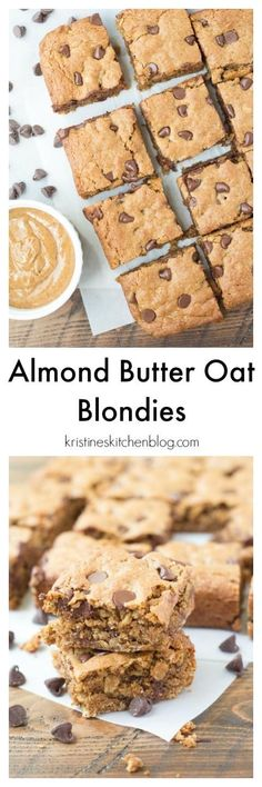Almond Butter Oat Chocolate Chip Blondies. Soft and chewy cookie bars with a subtle caramel flavor! A healthier cookie bar that's gluten-free.