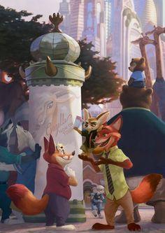 """Welcome to Zootopia!"" by Kamui Disney Pixar, Arte Disney, Disney Fan Art, Zootopia Characters, Zootopia Fanart, Zootopia Comic, Nick Wilde, Zootopia Nick And Judy, Furry Girls"
