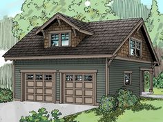 Love the brown and green combo.  Eliminate dormer, storage space only on second floor, no bathrooms, like lean to porch