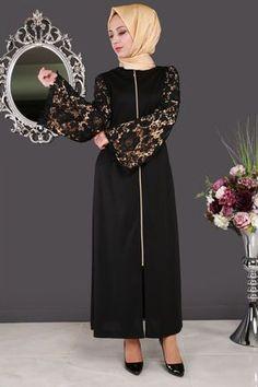 ** SONBAHAR ŞIKLIĞI ** Kolları Güpürlü Ferace Siyah Ürün Kodu: ASM2025 --> 129.90 TL Dubai Fashion, Abaya Fashion, Fashion Outfits, Womens Fashion, Hijab Abaya, Moslem Fashion, Hijab Fashionista, Muslim Women, The Dress