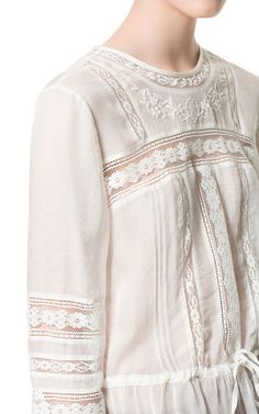 ZARA ECRU CREAM BLOUSE WITH EMBROIDERED FRONT TOP SHIRT SIZE M MEDIUM