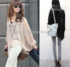 Fashion Spring Autumn Women Ladies Loose Casual Chiffon Tops Shirts Batwing Long Sleeve Beige Black $9.58 | DHgate.com
